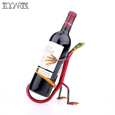 Tooarts Gecko Wine Rack Modern Wine Shelf Figurines Metal Sculpture Home Decoration Wine Stand Interior Decoration Crafts Gift - Dropshipper US