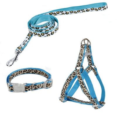 2 Colors Pet Leash+Harness+Collar One Set Leopard Pattern For Dogs Lead Puppy Harness Safety Control S/M US Send Fast - Dropshipper US
