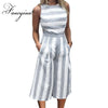FANCYINN Women Stripe Print Sleeveless Zipper Back Long Jumpsuit Romper Casual Style - Dropshipper US