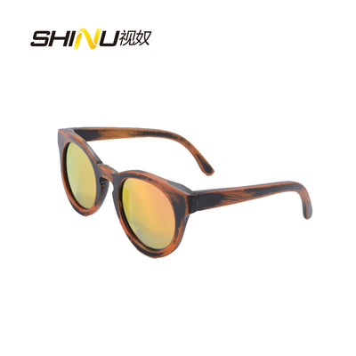 Fashion Women Sunglasses Round Full Carbonized Bamboo Wood Sun Glasses Anti-glasses Polarized Driving Eyeglasses UV400 Shade