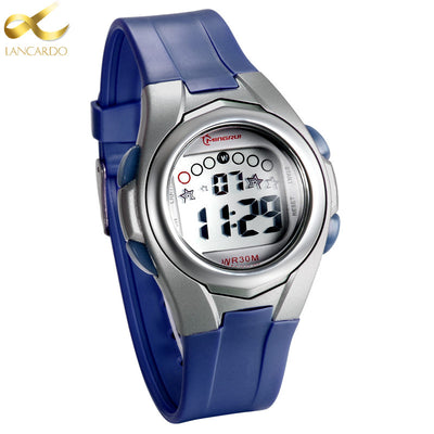 2017 New Brand Lancardo Children Watch LED Digital Watches For Boys&Girls Alarm Stopwatch Waterproof Clock Blue Kids Watches - Dropshipper US