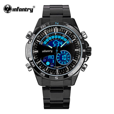 INFANTRY Luxury Brand Men Full Steel Analog Digital Sports Watches Army Military Quartz Watch Luminous Clock Relogio Masculino