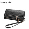 LOVEVOOK brand fashion women double zipper wallet artificial leather women black card holder famale clutch purse coin purse long - Dropshipper US
