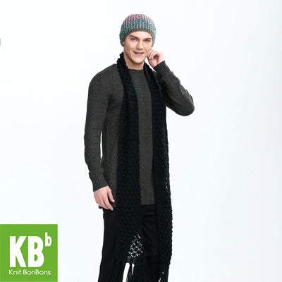 2017 KBB Spring    Pure Black Cute Lace Style Warm Winter Yarn Knitted Men Neck Cover Scarf Wrap Scarves for Men Women - Dropshipper US