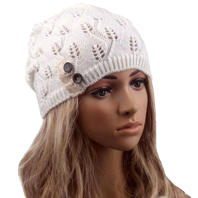 Fashion women Knitting Hat casual Hollow Out Leaves lace button wool hat female 2017 tiene sale Casual Beanies Gorro - Dropshipper US