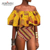 SEBOWEL 2017 Sexy Off Shoulder Swimwear Women Africa Tribal Print Ruffle High Waist Bikini Swimsuit Female Bathing Suits Biquini - Dropshipper US