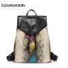 LOVEVOOK brand women backpack serpentine prints drawstring backpack female high quality artificial leather shoulder school bags - Dropshipper US