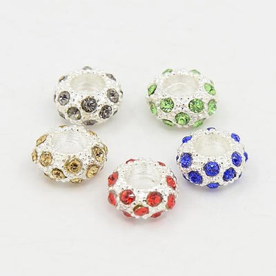 100pcs Alloy Rhinestone European Beads Large Hole Beads Rondelle Silver Metal Mixed Color, 11x6mm, Hole: 5mm - Dropshipper US