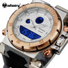 Men Watch Top Brand Luxury Brand INFANTRY Golden Big Dial Luminous Male Clock Rubber Strap Sports Wristwatches Relogio Masculino - Dropshipper US