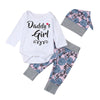 MUQGEW 1St Birthday DADDY GIRL Letter Romper Tops+Floral Pants Hat Outfits Clothes Set Baby 2017 Roupa Infantil QZ06