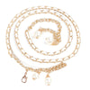 KLV 2017 New Hot SaleWomen's Lady Fashion  Metal Chain Pearl Style Belt Body Chain brand New High Quality#20