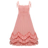 New Arrival Cute Girls Ruffles Pink Halter Party Dress Maxi Dress Adjustable Strapless Spring Summer Autumn Princess Party Dress - Dropshipper US
