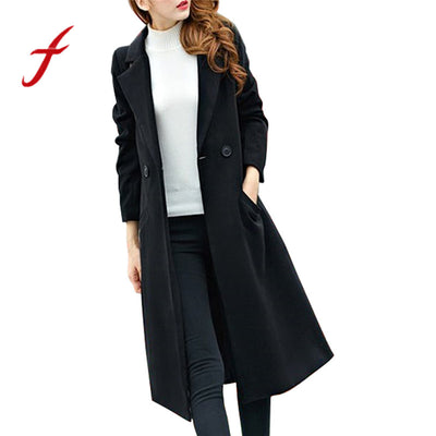 Feitong Fashion Winter Womens Autumn Long Woolen Coat Solid Trench Double Breasted Overcoat Outwear Cardigan casaco feminino New