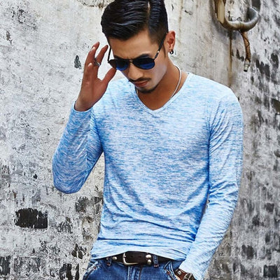 MUQGEW New Arrival Youthful Style Mens Solid V Neck Long Sleeve T Shirt Charming Comfortable Top Slim Elastic Blouse - Dropshipper US
