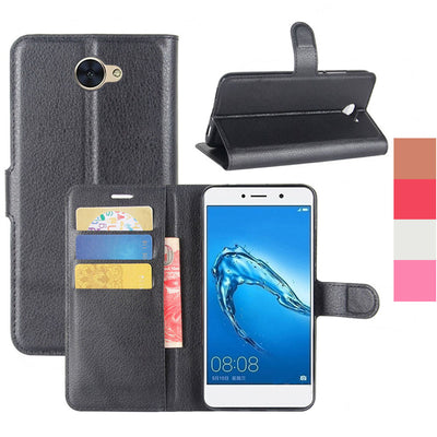 Luxury PU Leather Wallet Flip Case With Card Slot Holder Pouch Phone Bag Kickstand Back Cover For Huawei Ascend XT2/Elate 4G/Y7 - Dropshipper US