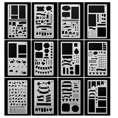 12pcs Set Plastic Planner Stencils Journal Notebook Diary Scrapbook DIY Drawing Template Kids Student Gift Draw Notebook supply - Dropshipper US
