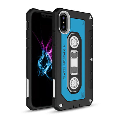 Dual Layer 3D Cassette Designed Retro Hybrid Armor Case Hard PC & Rubber TPU Shockproof Impact Protective Cover For iPhone X - Dropshipper US