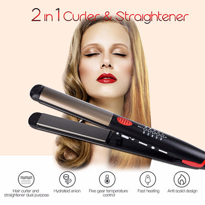 110-240V Ceramic Hair Straightening Iron Flat Iron LED Hair Tools Professional Curling Hair Straightener Curler Electric Irons - Dropshipper US