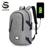 Computer Laptop USB Charging Backpack School Bag Pack Adult Student Bag Business Backpack Male Unisex Waterproof Travel Backpack - Dropshipper US