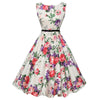 Retro style Women dress Vintage big Floral print Bodycon Sleeveless Casual elegant Party Dresses  Robe Femme Vestido Curto - Dropshipper US