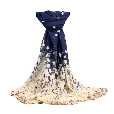 Fashion Women Flowers Scarf Long Soft Floral  Wrap Ladies Chiffon Scarves Luxury Brand Boho Style Shawl #10 - Dropshipper US
