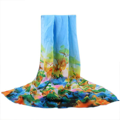 fashion scarf women Floral  scarves chiffon scarves soft smooth thin silk scarf for Ladies shawl Foulard Femme #VE - Dropshipper US