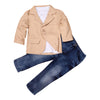 New Handsome 3pcs Kids Baby Boy Gentleman Coat+Long Sleeve Shirt+Jeans Pant Trousers Clothes Outfits Set kids casual sport suits - Dropshipper US