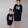 MomMe Women Love Letter Print Long Sleeve Family Outfits Hooded Dress Vestidos Casuales De Mujer - Dropshipper US