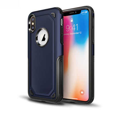 Carbon Fiber Armor Case +Tempered Glass Screen Protector Dual Layer Rubber Hard PC Shockproof Cover For Apple iPhone X 7 8 Plus@ - Dropshipper US
