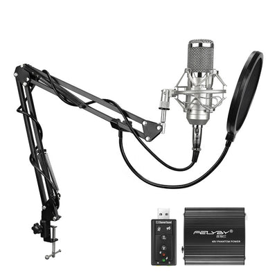 FELYBY Professional Condenser Microphone for computer bm 800 Audio Studio Vocal Recording Mic KTV Karaoke + Microphone stand