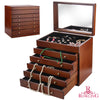 New Extra Large Wooden Jewellery Box Brown Vintage Armoire Luxury Cabinet Earring Jewellery Storage Organizer 5 Drawers Mirror - Dropshipper US