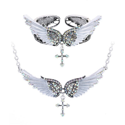 Angel wing cross necklace bracelet sets women biker jewelry birthday gifts women her girlfriend wife mom dropshipping NBNC01 - Dropshipper US