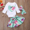 Newborn Infant Baby Girl Floral Heart Romper Tops+Skirt+Headband 3PC Outfits Clothes Set Floral Long Sleeve Casual Babe Clothes - Dropshipper US