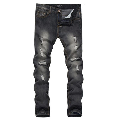 Men's Jeans Autumn Winter Stretch Vintage Style  Broken Holes Denim Pants men Slim Scratched Fit Straight Cowboys jeans for men - Dropshipper US