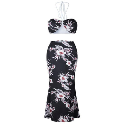 Feitong Fashion two pieces set Women Floral Prints Bandage Bra Top Shirt and Long Elegant Pencil Skirts 2PCS Set outfits