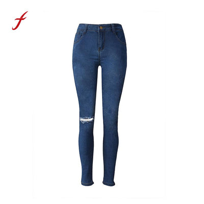 Feitong Womens imitation cowboy slim leggings Denim Skinny Jeans Vintage Distressed Hole Stretch Pencil Trousers Slim Long Pants