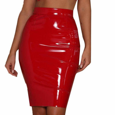 FEITONG Female Leather Skirt Sexy Bodycon Elastic Short Skirts Fashion Autumn Winter Elegant Patent leather black slim skirts