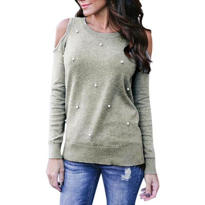 New 2018 Women Long Sleeve T-Shirts Women Pearl Beading Autumn Spring Tops Tee Out Of Shoulder Women Tee Shirts Plus Size - Dropshipper US