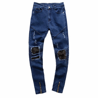 2018 High Quality New Mens Ripped Slim Fit Motorcycle Vintage Denim Jeans Hiphop Streetwear Pants warm soft men jeans - Dropshipper US