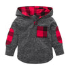 High quality Toddler Kid Baby Boys Girls Plaid Hoodie Pocket Long Sleeve Sweatshirt Pullover Tops Fashion Warm Clothes Gray
