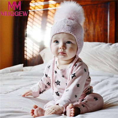 2018 1 PCS Children's hair ball hooded knit hat children hand warm autumn and winter wool hat baby boy and girl Print hat beanie - Dropshipper US