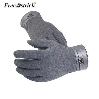 Free Ostrich Winter Men Full Finger Smartphone Touched Screen Gloves Mittens Casual Solid Soft Screen Touch Gloves for Man B0120