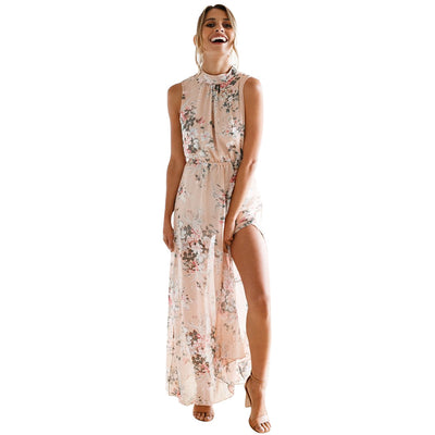 2018 Maxi Women Dress Vintage Party Fashion Backless Vestidos Verano Sexy casual Summer Elegant loose Floral Print Dresses - Dropshipper US