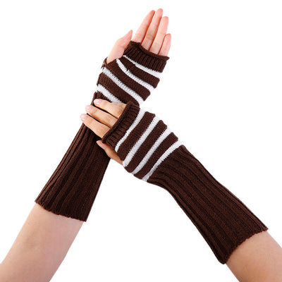 Women Winter Wrist Arm Warmer Stripe Knitted Long Fingerless Gloves Mitten 2017 NEW women girl lady fashion Stylish hand gloves - Dropshipper US