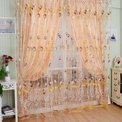 1M*2M Window Curtains Sheer Voile Tulle for Bedroom Living Room Balcony Kitchen Printed Tulip Pattern Sun-shading Curtain Y13 - Dropshipper US