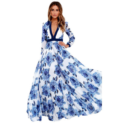 2018 Maxi Women Dress Vintage V-Neck Evening Party Fashion Beach Vestidos Verano Floral Print Sexy Summer Elegant Dresses - Dropshipper US