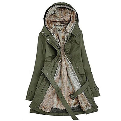 Fashion Women's Winter Faux Fur Lining Coats Warm Long Cotton-padded Jacket Parkas Ladies Hooded Coat Outerwear with Belt Gifts