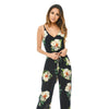Feitong Elegant Women Jumpsuit Leaves Jumpsuit Sleeveless Floral Printed Deep V Neck Playsuit Party Slim Feminino Long Beachwear