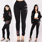 Women High Waist Floral Pencil Jeans Trousers Ladies Embroidered Denim Pants 2018 new arrival fashion womens spring summer pants - Dropshipper US