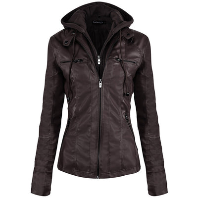 2018 Fall Winter Fashion Women's Hooded Faux Leather Jacket Zipper Motorcycle Leather Coat Hat Detachable Slim Short PU Jackets - Dropshipper US